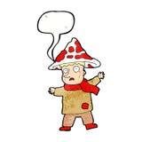 человек гриба шаржа волшебный с пузырем речи Стоковые Фотографии RF