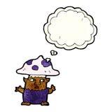 человек гриба шаржа маленький с пузырем мысли Стоковые Изображения RF
