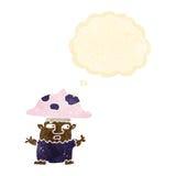 человек гриба шаржа маленький с пузырем мысли Стоковые Фотографии RF