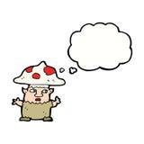 человек гриба шаржа маленький с пузырем мысли Стоковое Изображение RF
