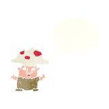 человек гриба шаржа маленький с пузырем мысли Стоковые Изображения