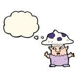 человек гриба шаржа маленький с пузырем мысли Стоковое фото RF