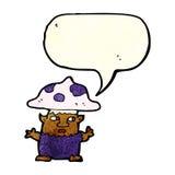 человек гриба шаржа маленький с пузырем речи Стоковое Фото