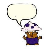 человек гриба шаржа маленький с пузырем речи Стоковые Изображения