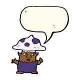 человек гриба шаржа маленький с пузырем речи Стоковые Изображения RF