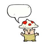 человек гриба шаржа маленький с пузырем речи Стоковое Изображение