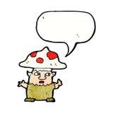 человек гриба шаржа маленький с пузырем речи Стоковая Фотография RF