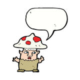 человек гриба шаржа маленький с пузырем речи Стоковые Фотографии RF