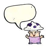 человек гриба шаржа маленький с пузырем речи Стоковое Изображение RF