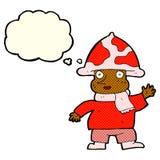 человек гриба шаржа с пузырем мысли Стоковая Фотография RF