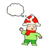 человек гриба шаржа с пузырем мысли Стоковые Фотографии RF