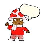 человек гриба шаржа с пузырем речи Стоковая Фотография RF