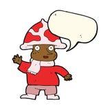 человек гриба шаржа с пузырем речи Стоковое Изображение RF