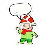 человек гриба шаржа с пузырем речи Стоковое Изображение
