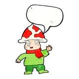 человек гриба шаржа с пузырем речи Стоковые Изображения