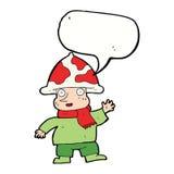 человек гриба шаржа с пузырем речи Стоковая Фотография