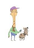 Человек гуляя его собака Стоковое Изображение