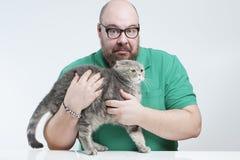 Человек держа вспугнутый Scottish породы кота складывает Стоковое фото RF