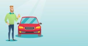 Человек держа ключи к его новому автомобилю иллюстрация вектора