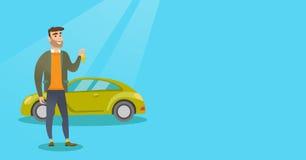 Человек держа ключи к его новому автомобилю иллюстрация штока