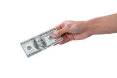 Человек держа 100 долларов Стоковые Изображения RF