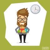 Человек держа поднос с фаст-фудом иллюстрация штока