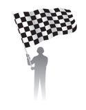 Человек держа развевая флаг с checkered картиной черных & белых гонок иллюстрация штока