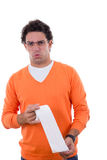 Человек держа туалетную бумагу с stomachache Стоковые Изображения RF