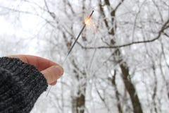 Человек держит бенгальский огонь, концепцию зимних отдыхов Стоковые Изображения
