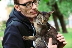 Человек держит кота стоковое фото rf
