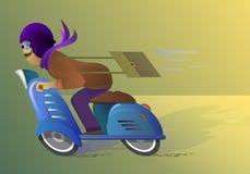 Человек ехать голубой самокат Иллюстрация вектора