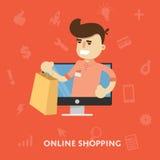 Человек делает онлайн приобретение на кредитной карточке компьтер-книжки бесплатная иллюстрация