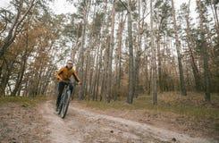 Человек едет велосипед в лесе Стоковое Фото