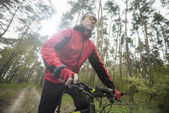 Человек едет велосипед в лесе Стоковые Изображения RF