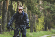 Человек едет велосипед в лесе Стоковое Изображение
