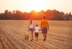 Счастливая семья с гулять собаки Стоковая Фотография RF