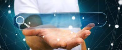 Человек занимаясь серфингом на интернете используя тактильное renderi бара 3D адреса сети Стоковое Фото