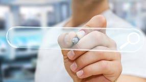 Человек занимаясь серфингом на интернете используя тактильное renderi бара 3D адреса сети Стоковые Изображения