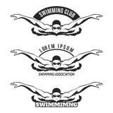 Человек заплывания на логотипе волны Стоковая Фотография