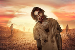 Человек зомби идя в десерт Стоковая Фотография