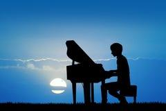 Человек играет рояль на заходе солнца иллюстрация вектора
