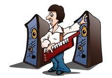 человек играя орган на изолированной белизне иллюстрация вектора