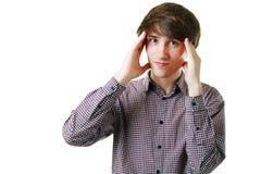 Человек имеет стресс и беспокойство Стоковое Фото