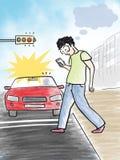 Человек используя мобильный телефон пока пересекающ иллюстрацию дороги иллюстрация штока