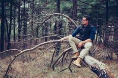 Человек исследователя отдыхая на дереве Стоковая Фотография RF