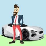 Человек и автомобиль бороды битника Иллюстрация штока