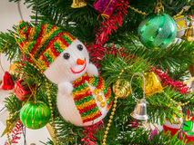 Человек и аксессуары снега украшенные с рождественской елкой Стоковая Фотография RF
