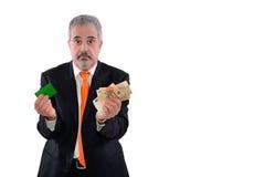 Человек и банкноты Стоковое Изображение RF