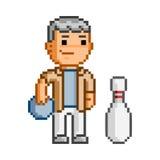 Человек и боулинг искусства пиксела вектора Стоковое Изображение
