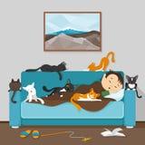 Человек и его коты иллюстрация вектора